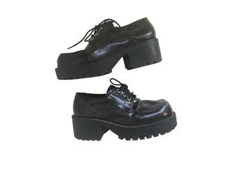 Platform Oxfords Size 6.5 Platform Shoes Vintage Platforms Vegan Shoes Vegan Boots Womens Oxfords 2 Inch Brown Oxfords Brown Platforms