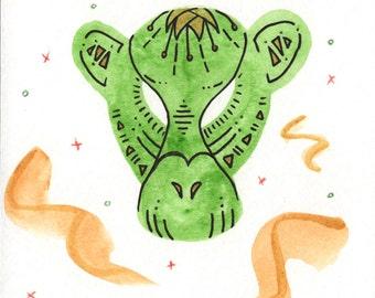 Green Monkey Mask, 4x6 Original Watercolor Ink Illustration