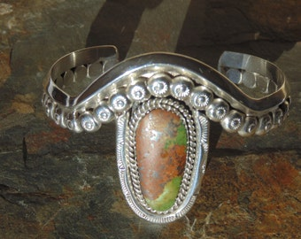 Victor Hicks ~ Navajo Heavy Sterling Silver and Stone Cuff Bracelet - 43 Grams