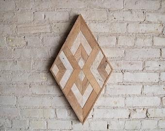 Reclaimed Wood Wall Art | Wood Decor  | Reclaimed Wood | Wood Art | Rustic Geometric| Wood Decor | Handmade | Diamond Decor | Wall Decor |