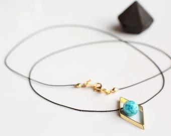 Turquoise teardrop pendant necklace/gold rhombus charm bead frame/black silk cord delicate gemstone jewelry/raw turquoise