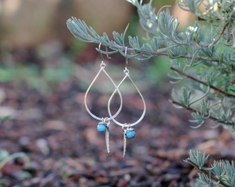 Silver Teardrop Earrings with Turquoise and Feather Beads