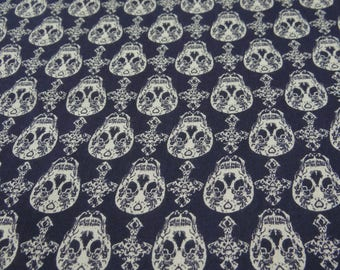 "Decorative Fabric, Skull Print, Navy Blue Fabric, Sewing Crafts, Upholstery Fabric, 44"" Inch Rayon Fabric By The Yard ZBR520A"
