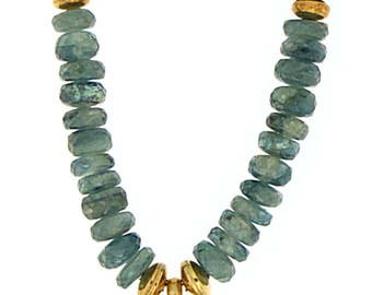 Green Kyanite bead necklace with Peridot and Chalcedony 24K Vermeil pendant