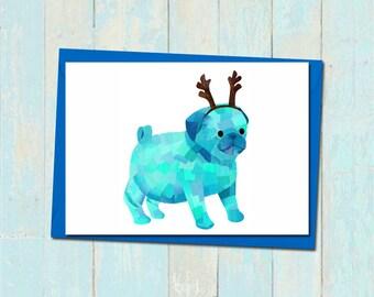 Reindeer pug christmas card, Custom colours, Christmas pug card, Pug antlers card, Unique christmas card, Paper collage xmas pug card