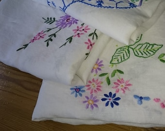 THREE Vintage Tablecloths Hand Embroidered English Square