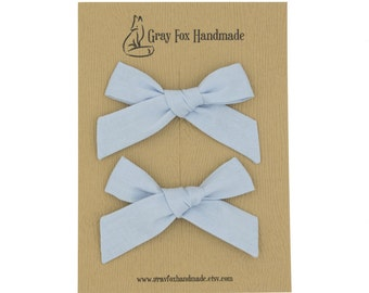 Powder Blue Hand-Tied Bow // Pigtail Set