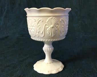 Vintage Medallion Milk Glass Pedestal Compote, Wedding Milk Glass