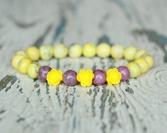 yellow bracelet howlite flowers bracelet womens beads jewelry gift for daughter elastic Dainty bracelet roses resin flowers summer girls