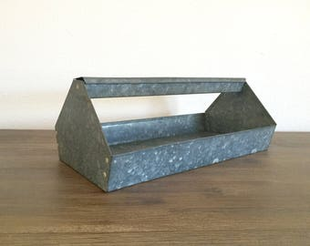 Galvanized Metal Tool Caddy; Vintage Tool Caddy; Vintage Planter; Industrial Decor; Metal Tote; Tool Storage