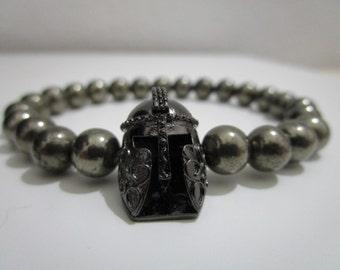 Spartan helmet bracelet, Gladiator bracelet, Bracelet, Mens jewelry, Mens stone bracelet,Gift for him, Gift for men, Gemstone bracelet