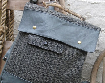 Harris Tweed Herringbone Backpack from our Collection of Seadrift Design Bags - Grey Leather and Driftwood Trim Rucksack, Laptop, Manbag