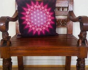 Flower of Life Cushion, Purple Pillow ॐ CUS125