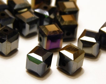 8mm Black AB Square Glass Cube Beads - AB Black - Cube Beads - Jewelry Supplies