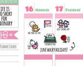 Wacky Holidays - June 2017 Planner Stickers (W06)