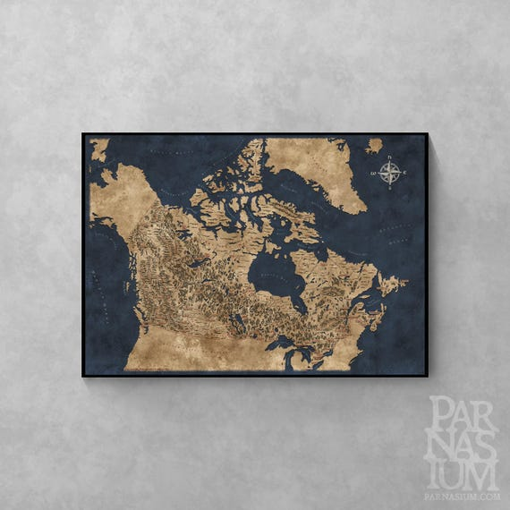 Fantasy style illustrated map of canada canada map art wall like this item gumiabroncs Images