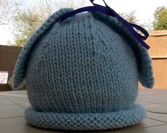 Hand Knitted Baby Hat, Blue Baby Hat, Blue Bunny Hat, Baby Bunny Hat, Photo Prop Hat, Spring Baby Hat
