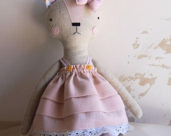Cat Handmade Doll - stuffed toy, plush cat, stuffed animal, cloth doll, Doll Fabric cat , Linen Dolls,decorative toy, baby gift,girl gift