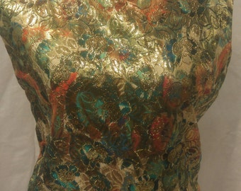 1960's glamour lame with embellishments shell top size L