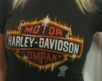 Vintage 1980's HARLEY-DAVIDSON t-shirt size Small with front and back printing