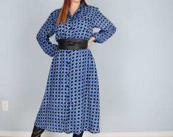 Vintage 1980s Blue Black Patterned Check Midi Long Sleeve Dress Button Up Pockets Size Small Medium