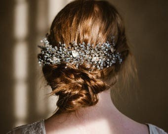 """Wedding """"Aster comb"""", bridal headpiece, hairvine, flower crown, vintage hairstyle, Made in italy"""