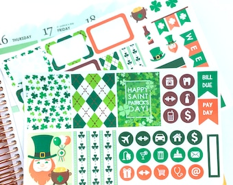 St. Patrick's Day Stickers, Mini Sticker Kit, March Stickers, March Sticker Kit, Weekly Stickers, Green Stickers, Erin Condren Stickers