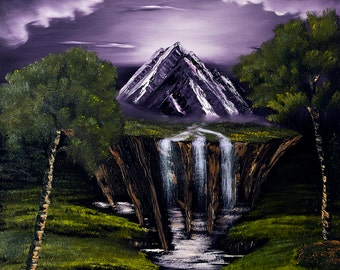 Mystic Mountain- 8x10 Art Print, Oil Painting By GLuxArt, Fantasy, Landscape, wall art, fantasy wall art, wall art, fantasy gift, Mountain