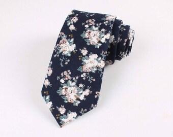 "Navy Floral Skinny Tie 2.36""   -  floral ties, Floral skinny ties, prom, wedding , gift, Vintage, retro, gifts for him, anniversary, Groom"