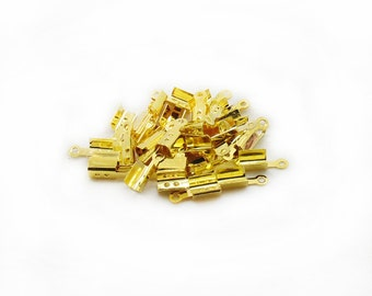 Gold Color Ribbon End Clamps, Ribbon Clamps, Ribbon End Clamps, 20 pcs Ribbon Clamps, Jewelry Making, Craft Supplies