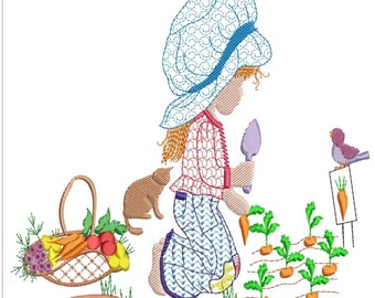 Sarah kay planting picking carrots machine embroidery download 3 diff sizes (5x5  6x6  7x7)and 2 free designs