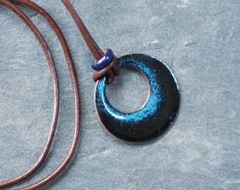 Midnight blue circular pendant