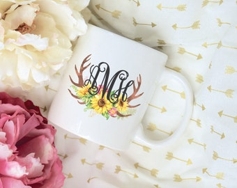 Custom Monogram Sunflower Antler Coffee Mug, Sublimation Mug, 2 Sided, Coffee mug