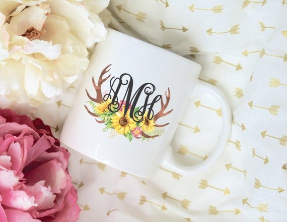Custom Monogram Sunflower Antler Sublimation Mug, 2 Sided, Coffee mug