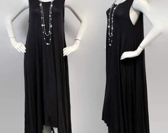 Elegant and Chic. Long Summer Maxi Dress Lagenlook Tunic, Hi Lo Tunic Dress, Asymmetrical Tunic Dress, Regular size, Boho, Sizes M, L