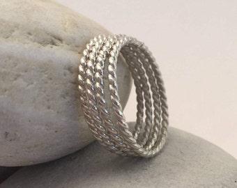 Sterling Silver Rope Rings, Size 11, Stacking Rings, Thumb Ring, Midi Ring, Boho Ring