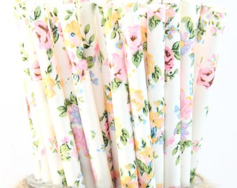 Floral paper straws-set of 25- garden party straws, tea party straws, flower straws, floral straws, vintage floral straws, wedding st