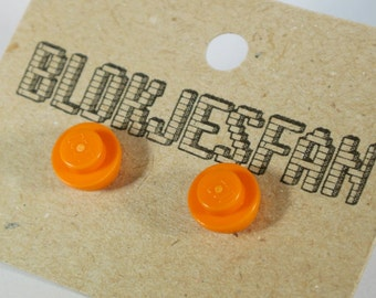 Orange LEGO stud earrings summer 2017
