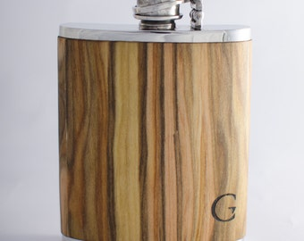 """100% Handcrafted Hip flask """"Jotunheimen"""". Made of pewter, wrapped with real wood"""