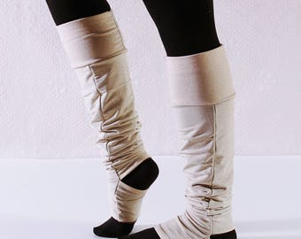 Leg Warmers Cream and Gold Sparkle (LINED!) Thigh High or Knee High