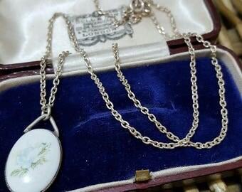 Vintage solid silver necklace, belcher chain & hand painted porcelain pendant
