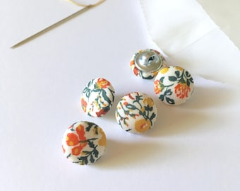 """1/2"""" Fabric Covered Buttons {Set of 5}, Handmade Fabric Buttons, Liberty Buttons, Small Buttons, Cover Buttons, Liberty of London, Floral"""