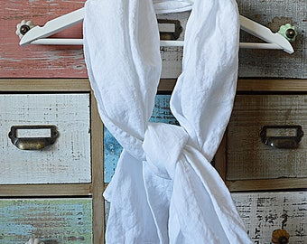 Pure white linen scarf - Stonewashed linen scarf - Softened summer scarf