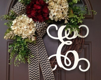 Year Round Wreath for Front Door - All Season Hydrangea Wreath - Grapevine Wreath with Burlap Bow - Everyday Front Door Wreath with Initial