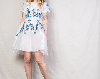 Embroidery dress etsy amazing vintage organza floral embroidery dress s hipster full skirt dress cotton dress flower ccuart Images