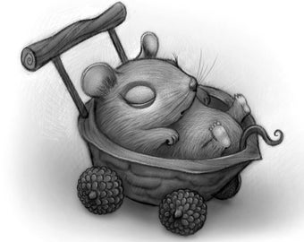 "8X10"" Baby Mouse in a nutshell baby buggy, Black and white Print, Signed by the artist, Will Terry"