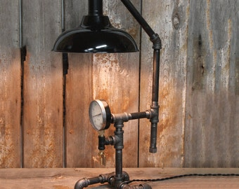 "Industrial Table Lamp with 10"" Shade - Steampunk Desk Lamp - Industrial Lighting"