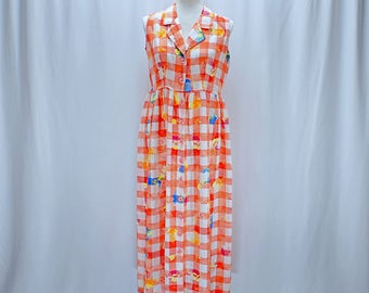 Vintage 80s 90s silk plaid floral baby doll maxi dress // Size S / M