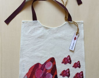 Pure linen bib. Bib. Digital prints from watercolor with Minnow