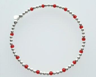 Sterling Silver Bead Bracelet, Silver Bead Bracelet, Silver Beaded Bracelet, Bead Bracelet, Stretch Bracelet, Stacking Bracelet,Gift For Her